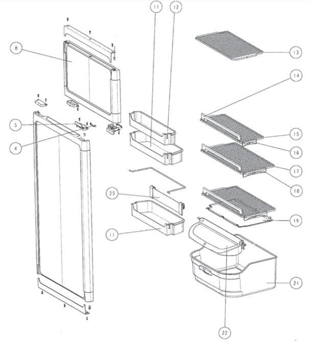 pieces detachees refrigerateur n145 thetford